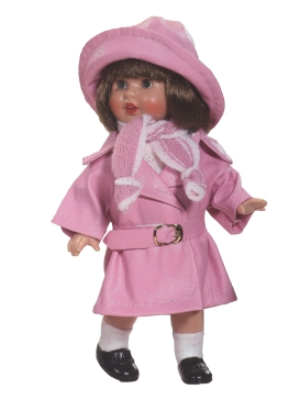 Mini Mariquita with pink raincoat set