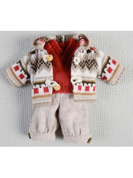 Ensamble pantalon beige, pull-over rouge et duffel-coat tricot pour Mini Juanín