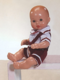 Mini Juanín Baby with burgundy and white corduroy shortalls set