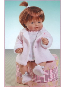Cuco in short dress and coat white and pink knitted set