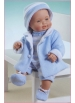 Cuco in romper, coat and bonnet white and sky blue knitted set