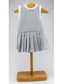 Gray striped dress with pleated skirt