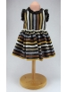 Black and earth striped knitted dress