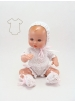 Mini Juanín Baby white cotton knitted suit with pink dress