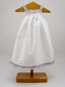 White nightgown with violet band of broderie anglaise