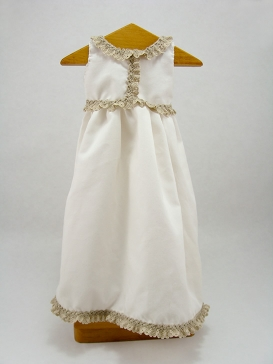 Off White nightgown with beige band of broderie anglaise