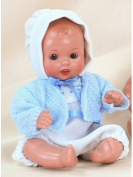 Mini Juanín Baby with white romper and beguin, sky blue cardigan set