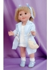 Carolina in sky blue knitted coat and white dress suit