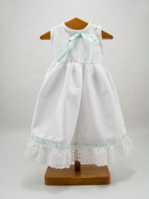 White nightgown with band of broderie anglaise and turquoise ribbon