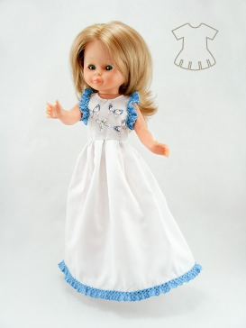 White nightgown with blue band of broderie anglaise