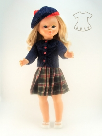 Kilt with navy knitted cardigan and bonnet suit
