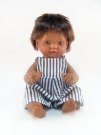 Ñaco in striped shortalls