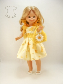 Yellow dress flowers with handbag
