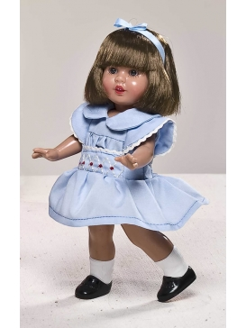 Mini Mariquita in sky blue dress with embroidery