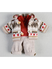 Mini Juanín beige pants, red sweater and knitted Duffle coat set