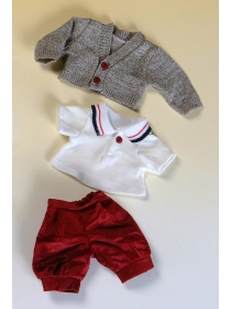 Cuco scarlet corduroy shorts, white polo shirt and brown knitted jacket set