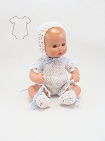 Mini Juanín Baby white cotton knitted suit with sky blue dress