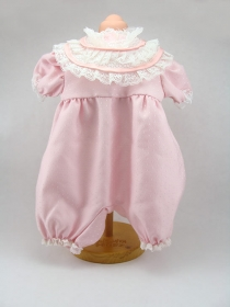 Pale pink tiny Polka Dot romper with yoke and lace