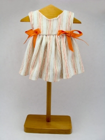 Off White striped summer dress with orange ribbons