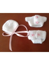 Barriguitas white knitted suit with pink details